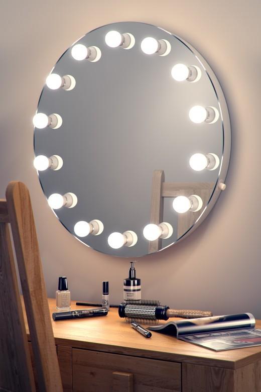 Hollywood Mirror 08 Wall Mounted Led Dia 700mm X Depth 60mm Illuminated Mirrors