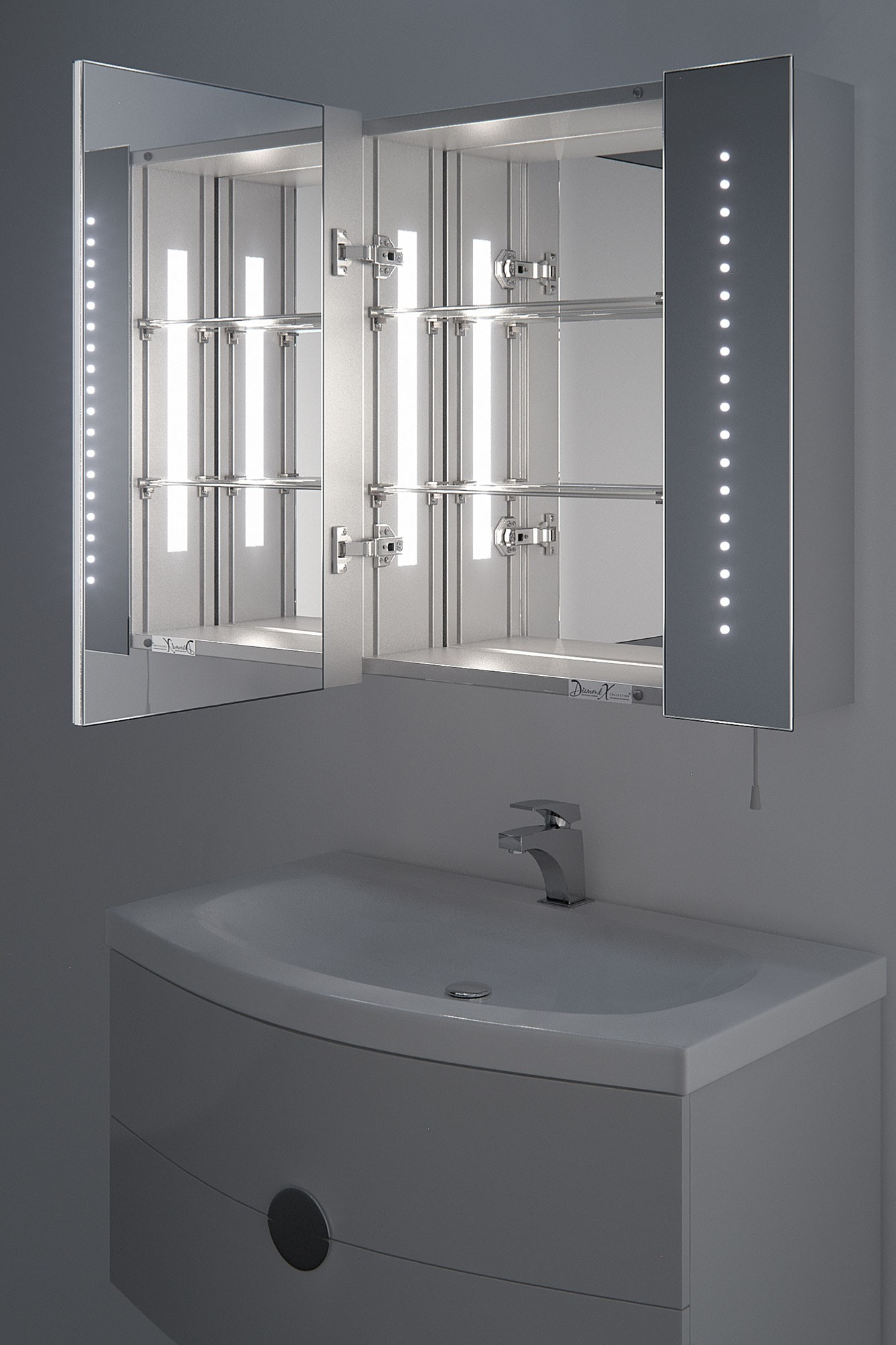 High Quality ... Bathroom Mirrors Battery Operated Mirror Cabinet Regal Battery Led Cab  ...