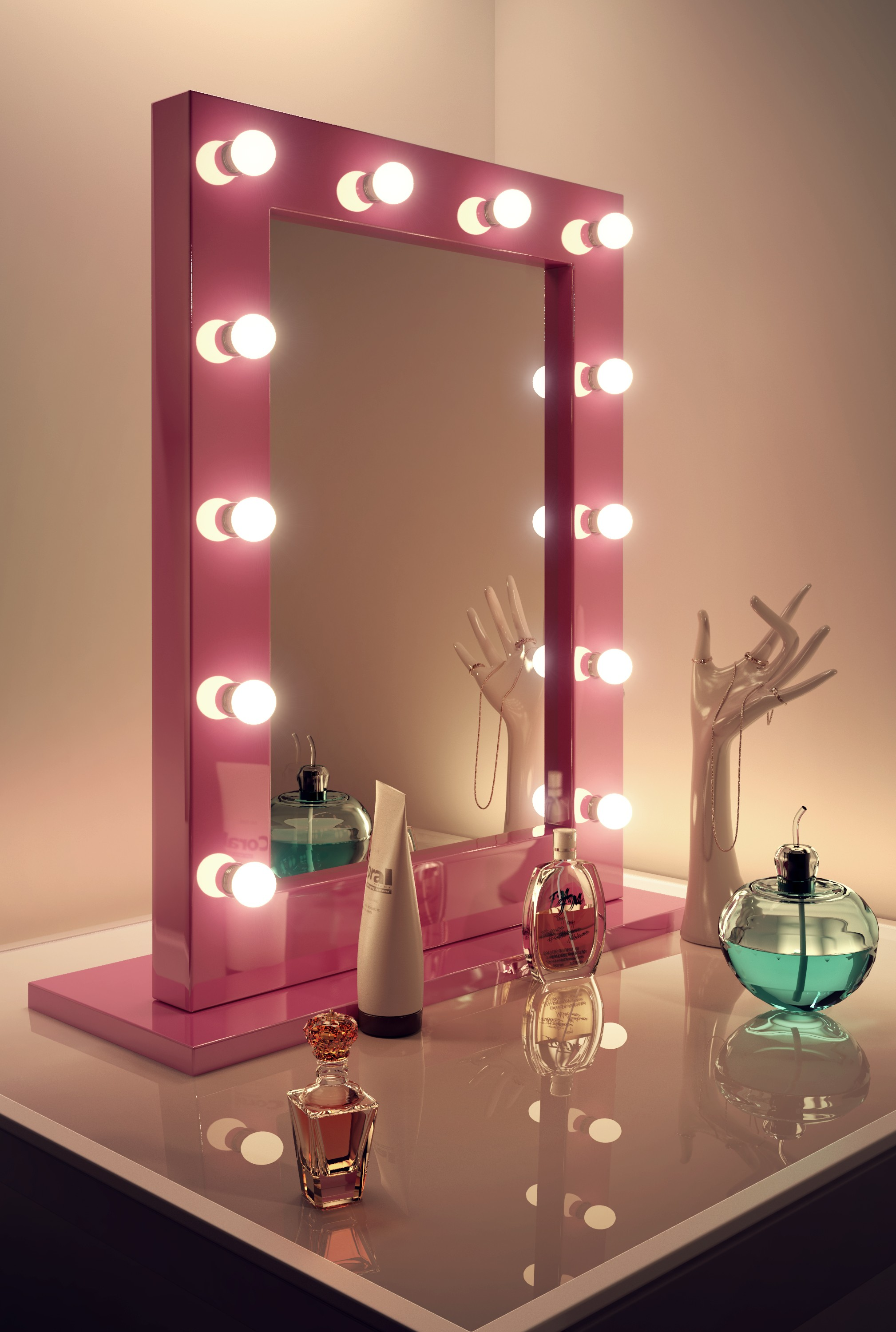 Pink Hollywood Mirror Table Top Led H 800mm X W 600mm