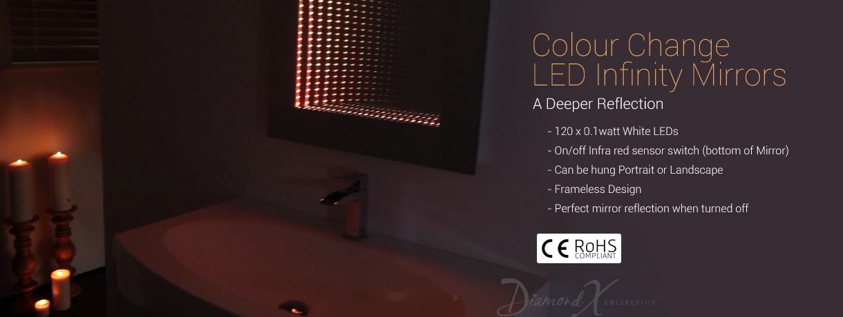 Diamond X Collection Perfect Reflection Rgb LED Bathroom Infinity Mirror K216Lrgb