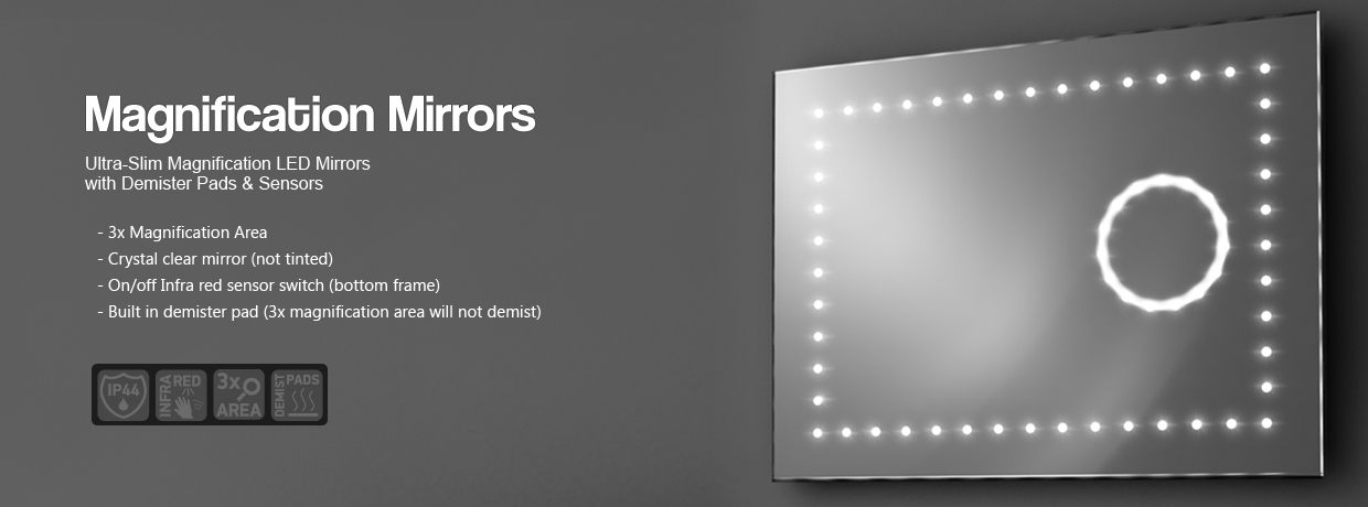 Magnifying Mirror with Light, Magnification LED Mirrors - Illuminated Mirrors UK